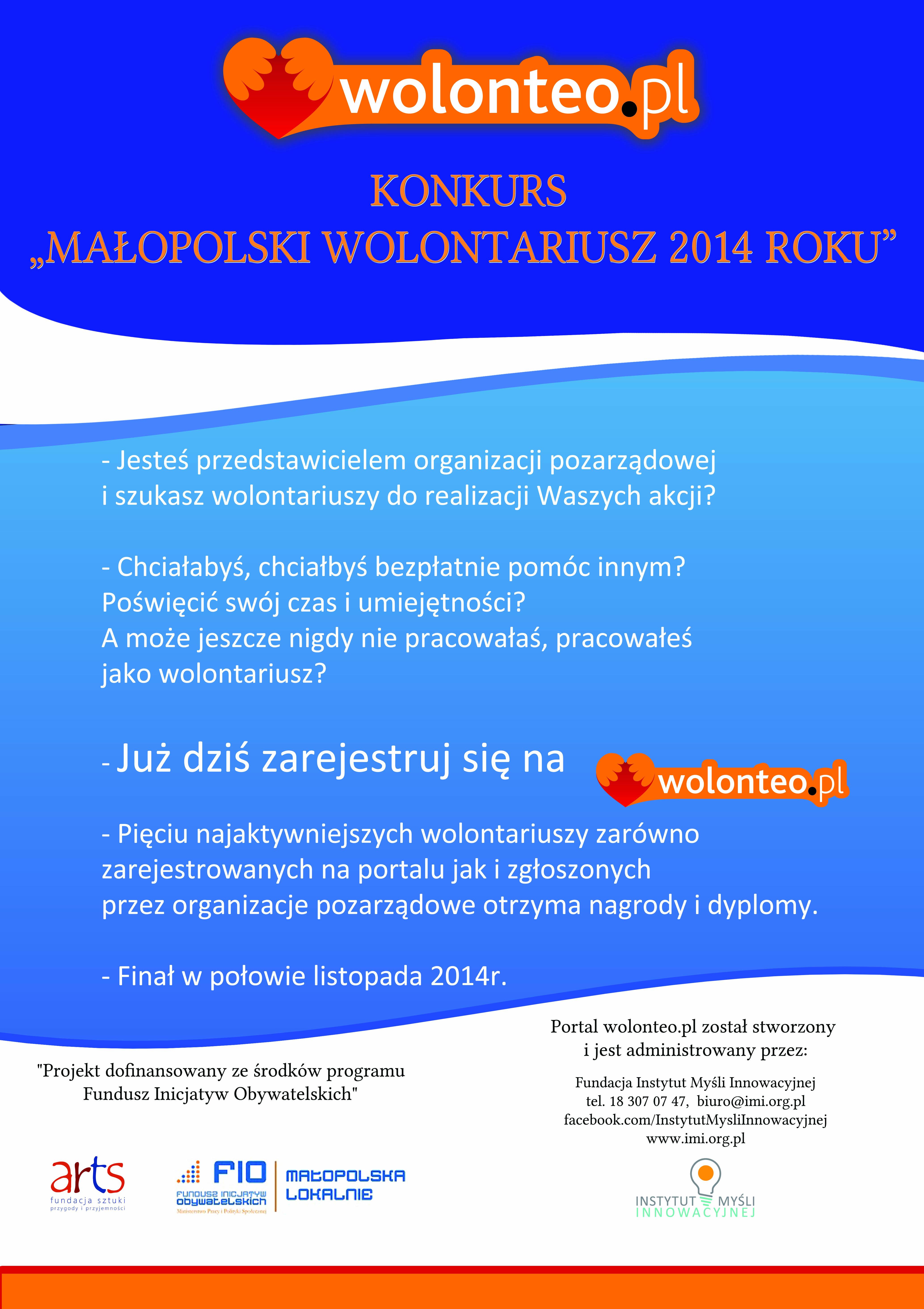 Konkurs 22 Małopolski wolontariusz 2014 roku